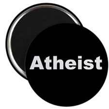 """ATHEIST"" (white on black) 2.25"" Magnet (100 pack)"