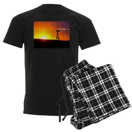 Windmill Sunset Men's Dark Pajamas