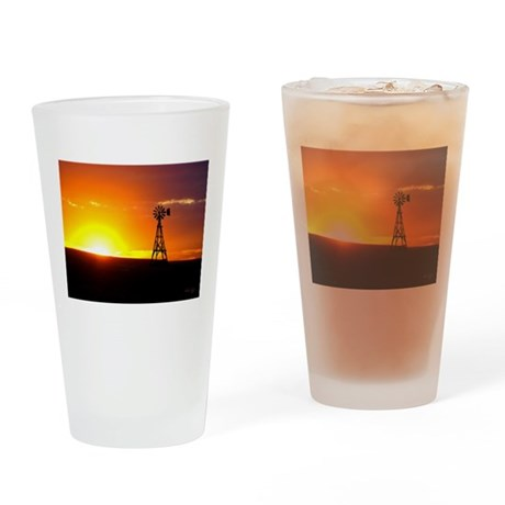 Windmill Sunset Drinking Glass