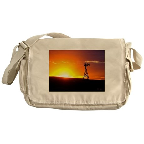 Windmill Sunset Messenger Bag