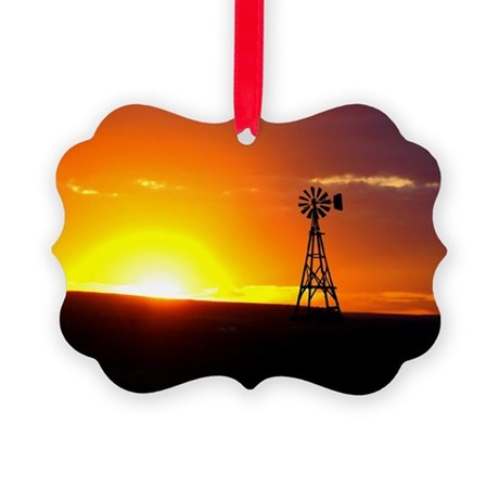 Windmill Sunset Picture Ornament