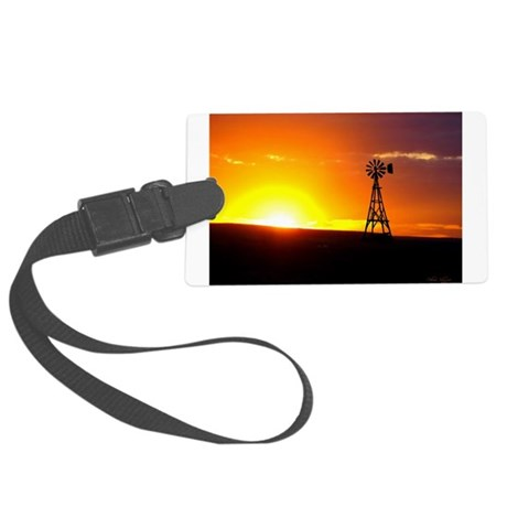 Windmill Sunset Large Luggage Tag