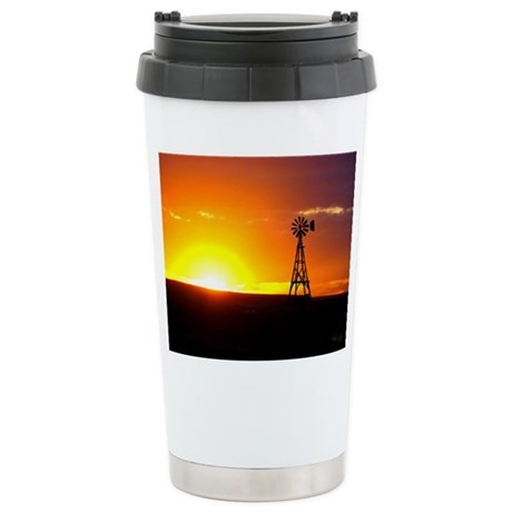 Windmill Sunset Ceramic Travel Mug