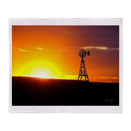 Windmill Sunset Throw Blanket