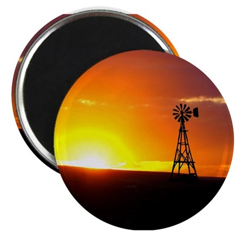 "Windmill Sunset 2.25"" Magnet (10 pack)"