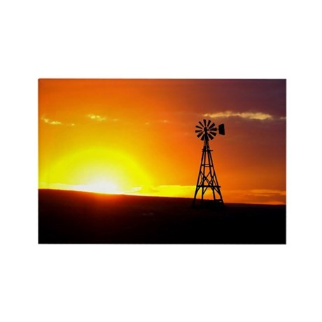 Windmill Sunset Rectangle Magnet