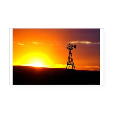 Windmill Sunset Rectangle Car Magnet