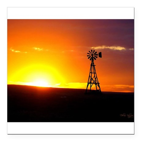 "Windmill Sunset Square Car Magnet 3"" x 3"""