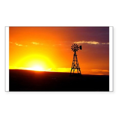 Windmill Sunset Sticker (Rectangle)
