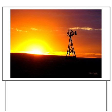 Windmill Sunset Yard Sign