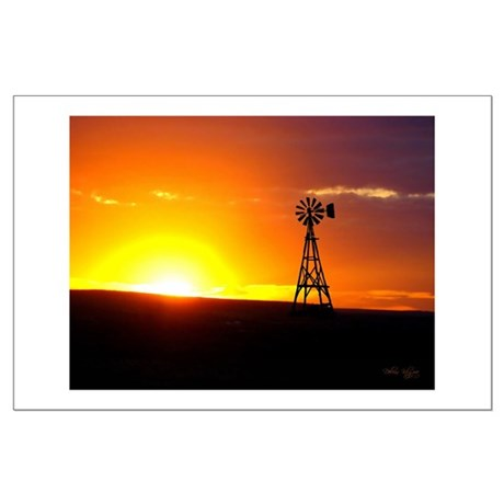 Windmill Sunset Large Poster