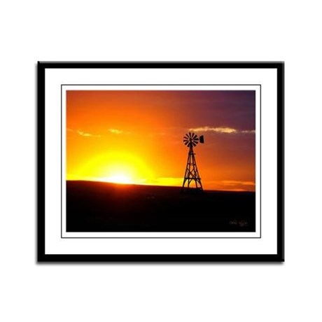 Windmill Sunset Framed Panel Print