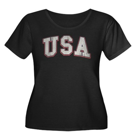 Vintage Team USA Women's Plus Size Scoop Neck Dark
