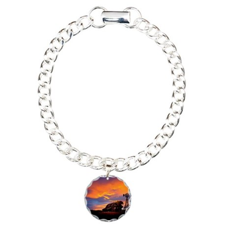 God is Watching Sunset Charm Bracelet, One Charm