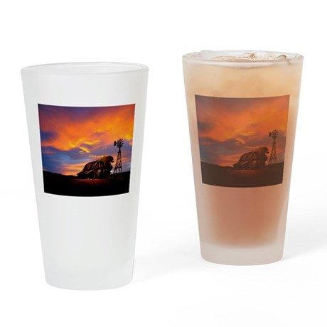 God is Watching Sunset Drinking Glass