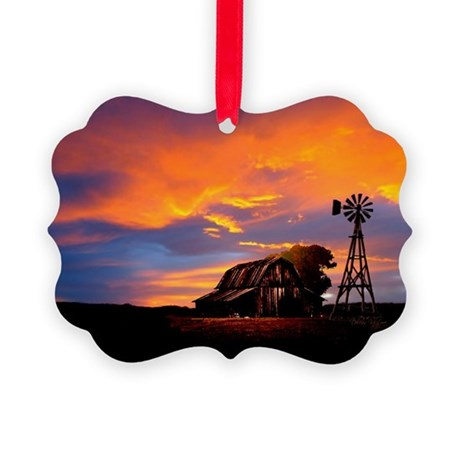 God is Watching Sunset Picture Ornament