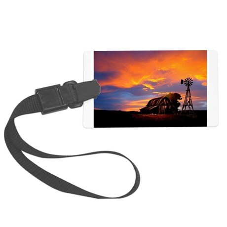 God is Watching Sunset Large Luggage Tag