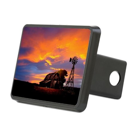 God is Watching Sunset Rectangular Hitch Cover