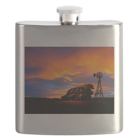 God is Watching Sunset Flask