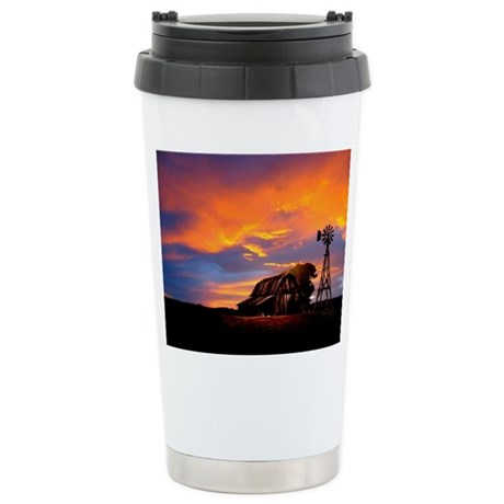 God is Watching Sunset Ceramic Travel Mug