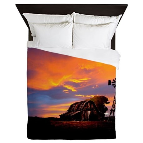 God is Watching Sunset Queen Duvet
