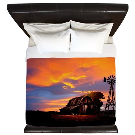 God is Watching Sunset King Duvet