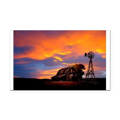 God is Watching Sunset Rectangle Car Magnet