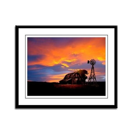 God is Watching Sunset Framed Panel Print