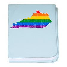 Kentucky Rainbow Pride Flag And Map baby blanket