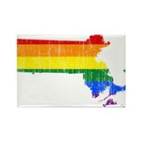 Massachusetts Rainbow Pride Flag And Map Rectangle