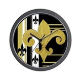 Black and gold fleur de lis Wall Clock