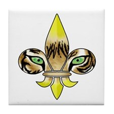 Centered Fleur De Lis Tile Coaster