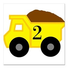 "Second Birthday Dump Truck Square Car Magnet 3"" x"