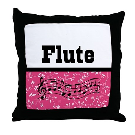 Flute Pink Damask Throw Pillow