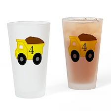 Fourth Birthday Dump Truck Drinking Glass