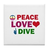 Peace Love Dive Designs Tile Coaster