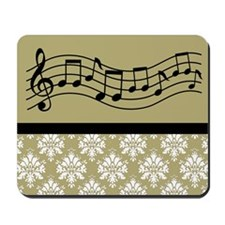 Music Mousepad (Gold Damask)
