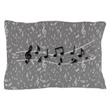 Personalized Grey black musical notes Pillow Case