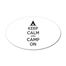 Keep calm and camp on 38.5 x 24.5 Oval Wall Peel