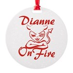 Dianne On Fire Round Ornament