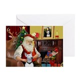Santa's Bull Terrier Greeting Cards (Pk of 10)