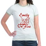 Emily On Fire Jr. Ringer T-Shirt