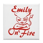 Emily On Fire Tile Coaster