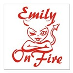 Emily On Fire Square Car Magnet 3