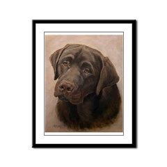 Chocolate Lab Portrait Painting Framed Panel Print