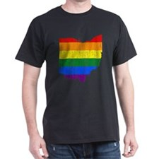 Ohio Rainbow Pride Flag And Map T-Shirt