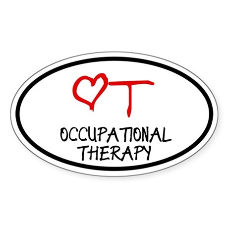 Occupational Therapy Heart Oval Sticker