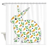 Carrot Calico Rabbit Shower Curtain