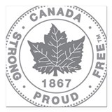 "Canada STRONG & FREE Square Car Magnet 3"" x 3"""