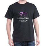 OT Pink Heart  Black T-Shirt